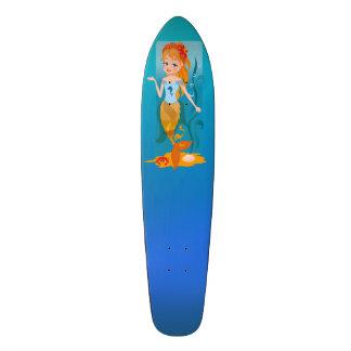 Cute little mermaid with red hair and blue eyes skateboard decks