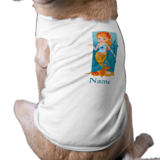Cute little mermaid with red hair and blue eyes sleeveless dog shirt
