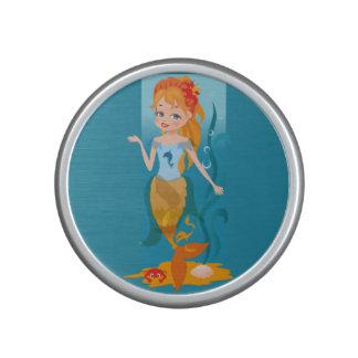 Cute little mermaid with red hair and blue eyes speaker