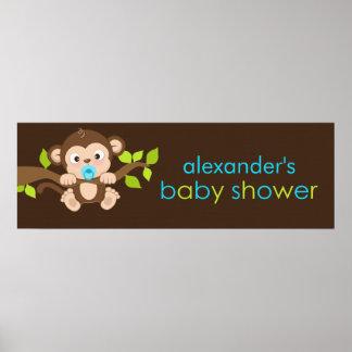Cute Little Monkey Boy Baby Shower Banner Poster
