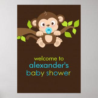 Cute Little Monkey Boy Baby Shower Poster