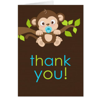 Cute Little Monkey Boy Thank You Card