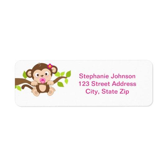 Cute Little Monkey Girl Return Address Label