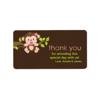 Cute Little Monkey Girl Thank You Label Address Label