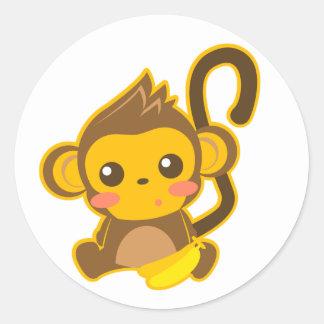Cute Little Monkey Round Sticker