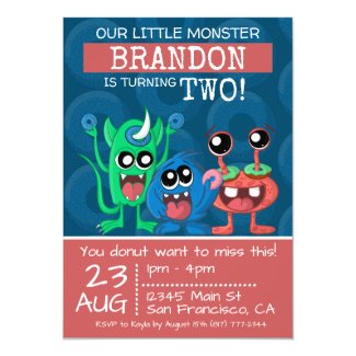Cute Little Monster 2nd Birthday Doughnut Party Invitation