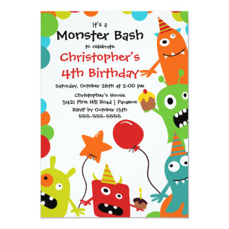 CUTE Little Monster Bash Birthday Party Card