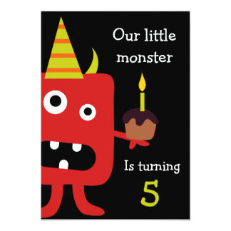 Cute Little Monster Kids Birthday Party Invite