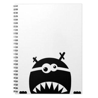 Cute little monster stencil spiral notebook