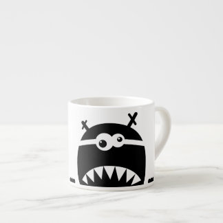 Cute little monster stencil espresso cup