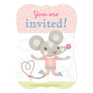 """Cute little mouse kids birthday party 5"""" x 7"""" invitation card"""