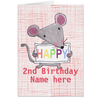 Cute little mouse says HAPPY BIRTHDAY Card
