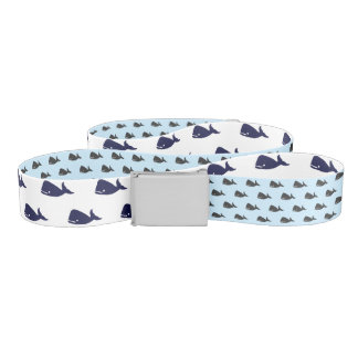 Cute Little Navy Blue Whale Pattern on Pastel Blue Belt