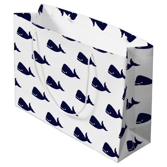 Cute Little Navy Blue Whale Pattern on White