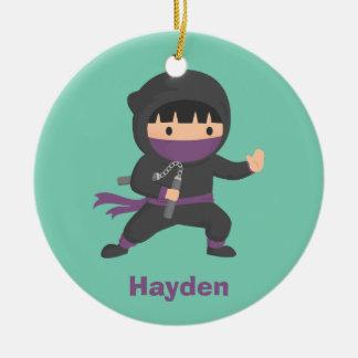 Cute Little Ninja with Nunchaku Boys Room Decor Christmas Ornament