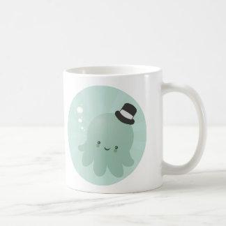 Cute Little Octopus wearing a black Top Hat Basic White Mug