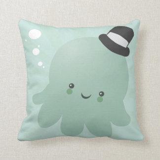 Cute Little Octopus wearing a black Top Hat Cushion