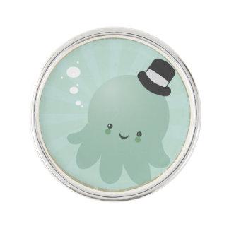 Cute Little Octopus wearing a black Top Hat Lapel Pin