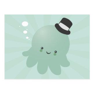 Cute Little Octopus wearing a black Top Hat Postcard