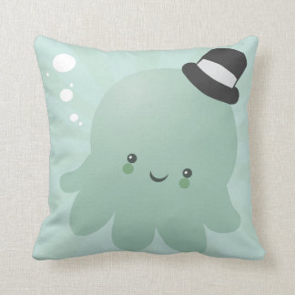 Cute Little Octopus wearing a black Top Hat Throw Pillow