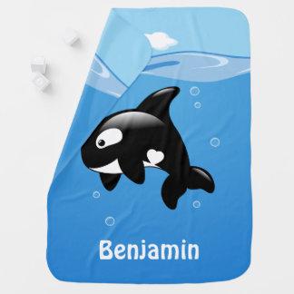 Cute Little Orca Whale in Ocean Baby Blanket
