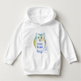 Cute Little Owl in Watercolor Hoodie