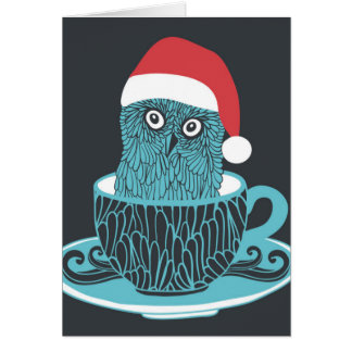 Cute Little Owl Pet In The Tea Cup Card