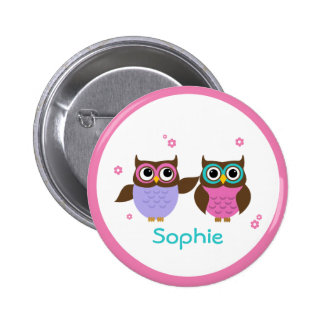 Cute Little Owls Add Your Name Buttons