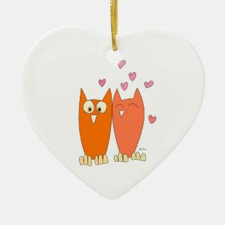 Cute little owls ceramic heart decoration