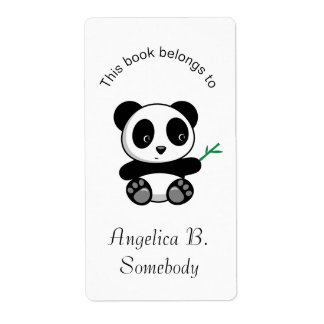 Cute Little Panda with a Bamboo Stick Bookplate Shipping Label