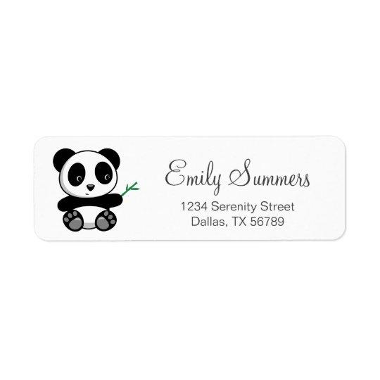 Cute Little Panda with a Bamboo Stick Return Address Label