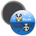 Cute Little Pandas Clean Dirty 7.5 Cm Round Magnet
