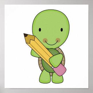 cute little pencil turtle poster