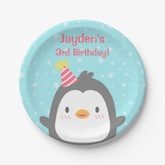 Cute Little Penguin Birthday Party Supplies 7 Inch Paper Plate