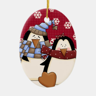 Cute Little Penguin Couple Christmas Ornament