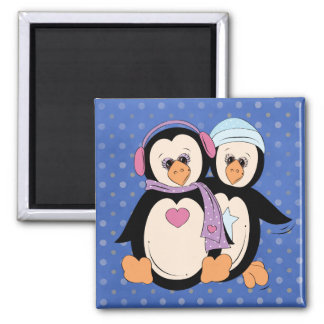 Cute Little Penguin Couple Refrigerator Magnet