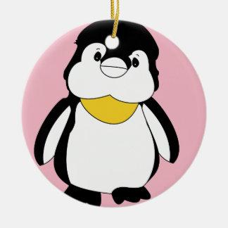 Cute Little Penguin Round Ceramic Decoration