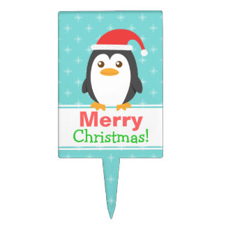 Cute Little Penguin with Santa Hat for Christmas Cake Toppers