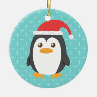 Cute Little Penguin with Santa Hat for Christmas Round Ceramic Decoration