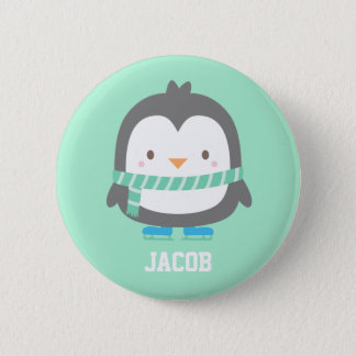 Cute Little Penguin with Winter Scarf For Boys 6 Cm Round Badge
