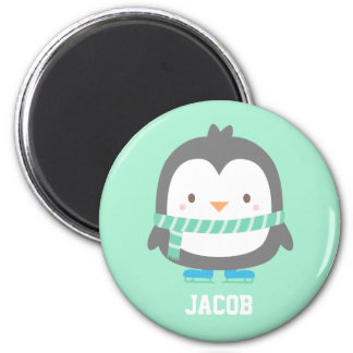 Cute Little Penguin with Winter Scarf For Boys 6 Cm Round Magnet