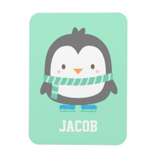 Cute Little Penguin with Winter Scarf For Boys Rectangular Photo Magnet