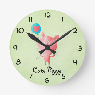Cute Little Pig Round Clock