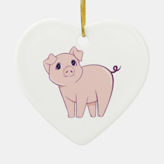 Cute Little Piggy Art Ceramic Heart Decoration