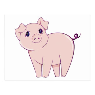 Cute Little Piggy Art Postcard