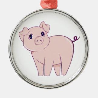 Cute Little Piggy Art Silver-Colored Round Decoration