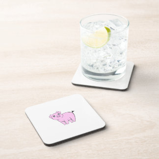 Cute Little Piggy, Baby Pig - Pink Black Drink Coasters