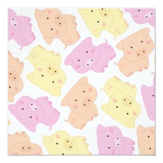 """Cute Little Piggy Pig's Birthday Party Invite 5.25"""" Square Invitation Card"""