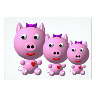 Cute little piggy with hearts and bow! 13 cm x 18 cm invitation card