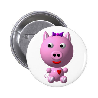 Cute little piggy with hearts and bow! 6 cm round badge